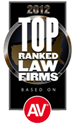 AV Top Ranked Law Firms in 2012 Badge